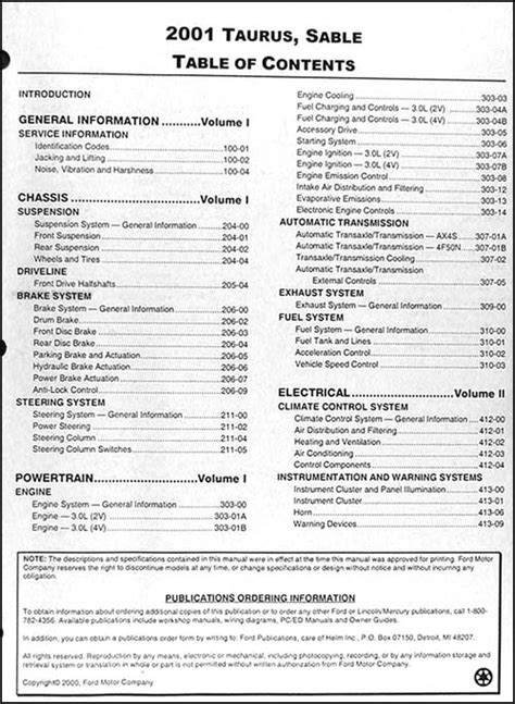 car repair manuals online pdf 2003 ford taurus regenerative braking 2001 ford taurus mercury sable repair shop manual 2 volume set original