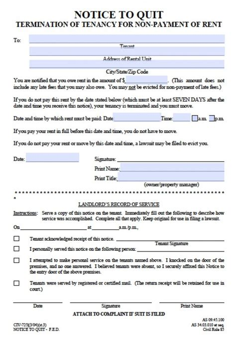 alaska eviction forms free alaska seven 7 day notice to quit civ 725 pdf