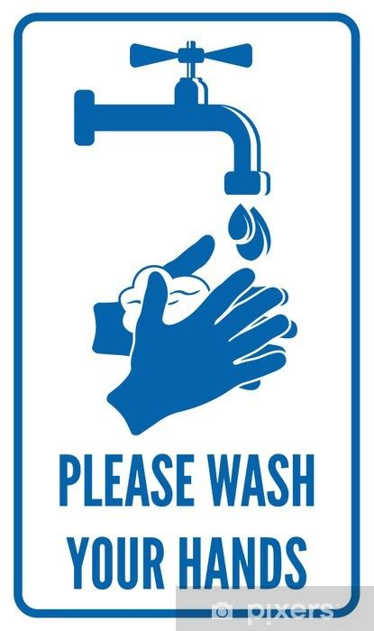 wash  hands sign wall mural pixers