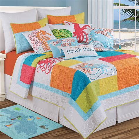 Coastal Coverlet by Tropic Escape Bright Coastal Quilt Bedding