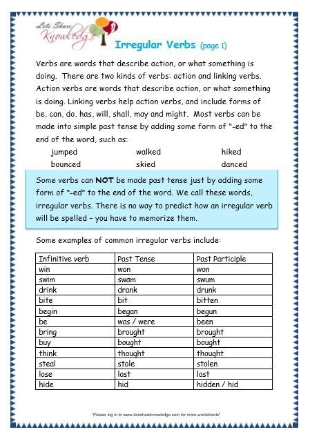 grade 3 grammar topic 39 irregular verbs worksheets mo1