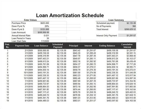 loan amortization calculator amortization schedule calculator templates free excel