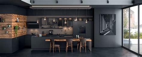cuisine noir et gris cuisine moderne îlot type loft ambiance black mobalpa