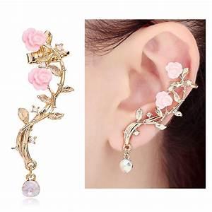 CIShop Pink Rose Diamond Ear cuff from Amazon Earcuffs