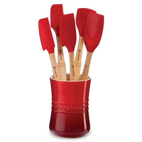 le creuset silicone revolution silicone utensil set  piece cherry red cutlery