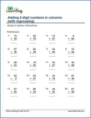 grade 2 addition worksheet on adding two 2 digit numbers