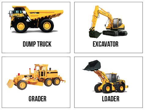 Free Printable Construction Truck Flashcards. (because I