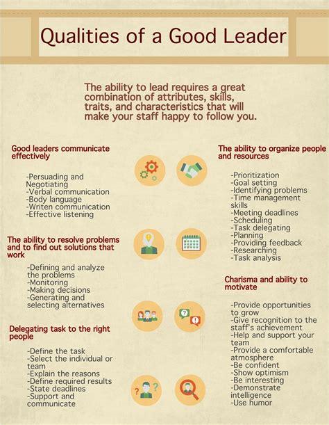 qualities   good leader characteristics attributes