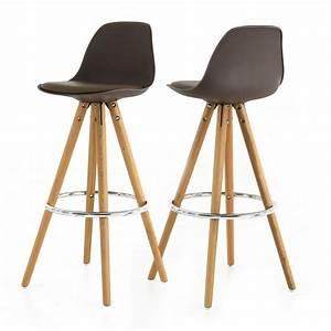 Chaises De Bar Scandinaves : chaise haute de bar taupe tr pied en bois style scandinave mooviin ~ Teatrodelosmanantiales.com Idées de Décoration