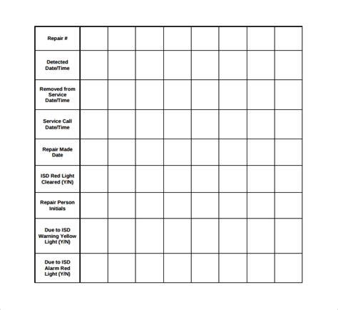 repair log templates   sample templates