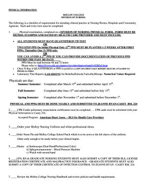molloy college physical form fillable online molloy division of nursing physical form