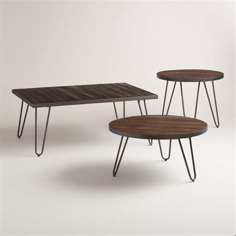 wood coffee table with metal legs wood hairpin occasional table collection world market