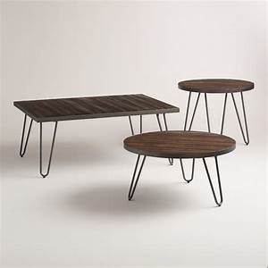 wood hairpin occasional table collection world market With round wood coffee table with metal legs