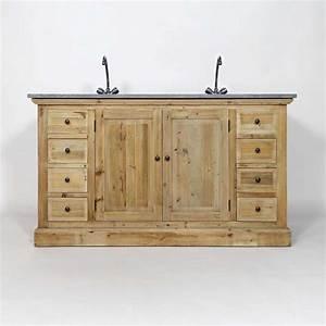 Meuble Vasque Bois Salle De Bain : meuble salle de bain bois massif 2 vasques 2 portes 8 ~ Teatrodelosmanantiales.com Idées de Décoration