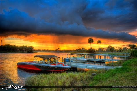 Foremost Boat Insurance by Boat At The Dock Sunset Lake Hdr Photography