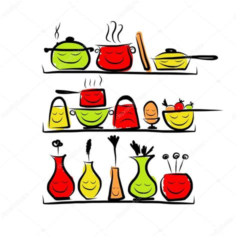 dessin ustensile de cuisine personnages d 39 ustensiles de cuisine sur les étagères