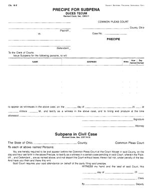 a sle subpeona form for ohio fillable online civil precipe for subpoena duces tecum