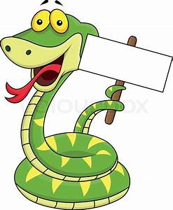 Vector illustration of Snake cartoon with blank sign ...
