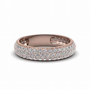 micropave diamond wedding band for women in 14k rose gold With rose gold wedding rings for women