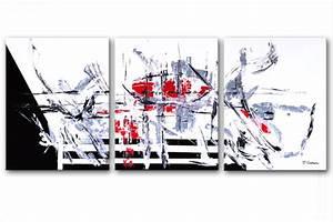 Tableau Moderne Noir Et Blanc : tableaux modernes triptyque noir blanc rouge rectangle tableau x contemporains triptyque ~ Teatrodelosmanantiales.com Idées de Décoration