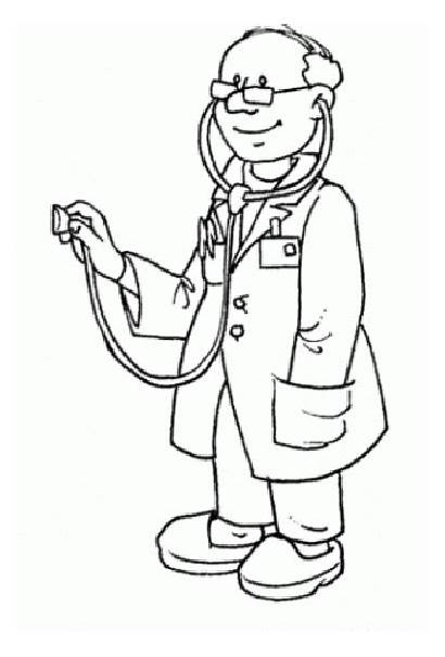 Doctor Coloring Pages Doctors Cartoon Printable Sheet