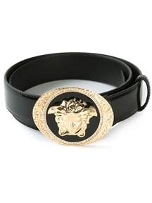 gold earrings versace medusa buckle belt in black lyst