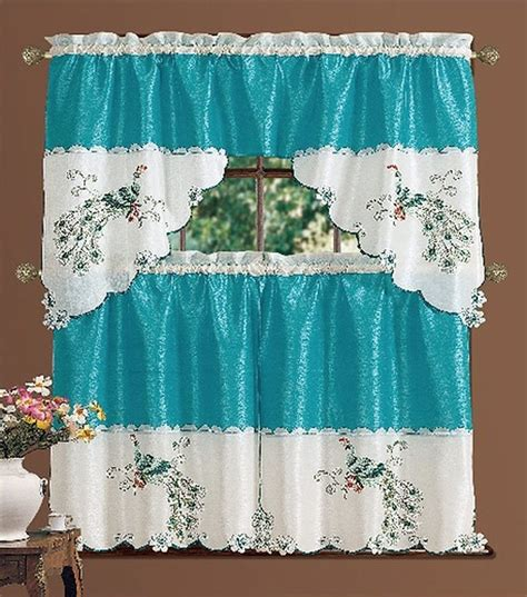 Peacock Elegant Embroidered 3piece Kitchen Curtain Swag