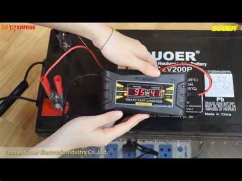 suoer smart fast battery charger 12v 10a with lcd screen display 1210d youtube