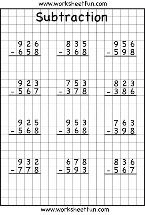 3rd grade math worksheet 3 digit subtraction 3 digit borrow subtraction regrouping 5 worksheets