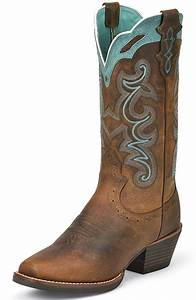 Justin Womens Silver Collection Cowboy Boots - Rugged Tan ...