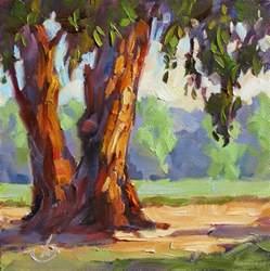 tom brown eucalyptus trees farm california impressionist plein air painting by tom brown