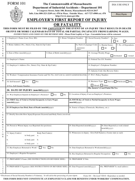 form 101 download fillable pdf employer s first report of