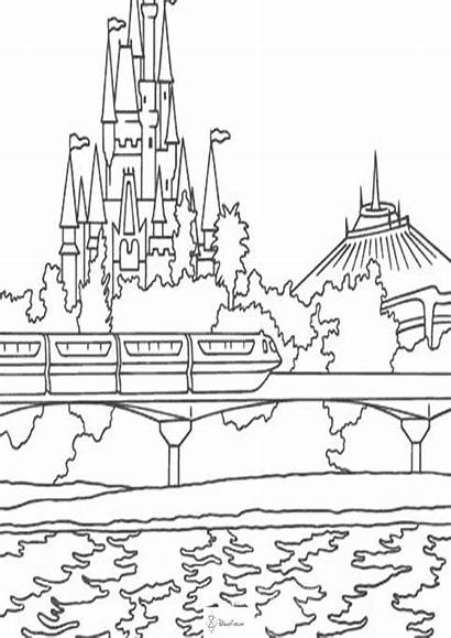 Disney Coloring Pages Disneyland Castle Rides Walt