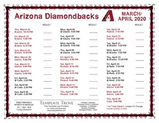printable  arizona diamondbacks schedule