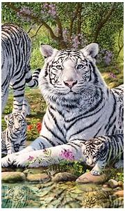 Animals White Tiger And Two Cubs Jungle Waterfall Art ...