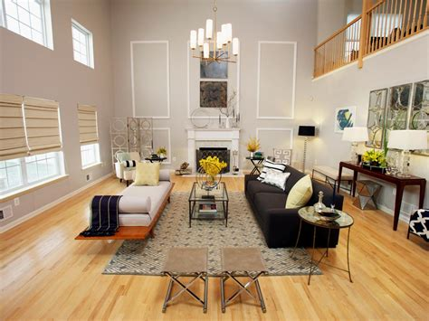 High Ceiling Living Room by Modern Gray Living Room With High Ceiling And Fireplace Hgtv
