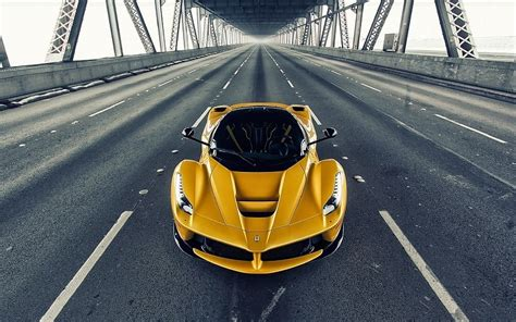 Yellow Ferrari Laferrari Sports Car Hd Wallpaper Free