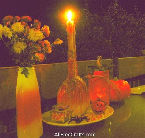 corn candles candy drip wine bottle candle halloween lake jane