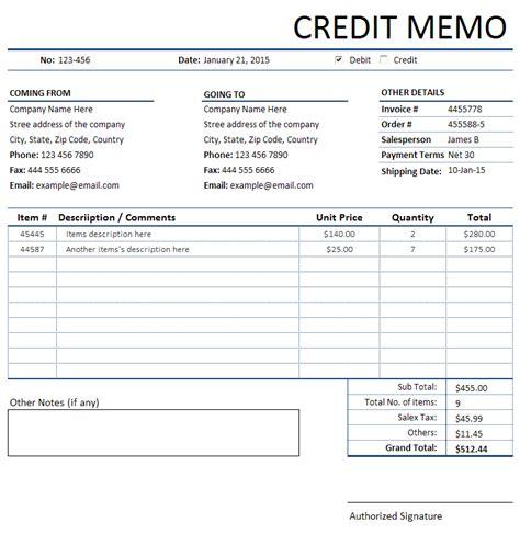 credit memorandummemo invoice sales invoices invoice