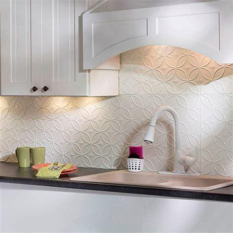 decorative backsplash fasade 24 in x 18 in rings pvc decorative backsplash panel in gloss white b61 00 the home depot