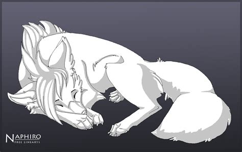 Sleeping Wolf- Free Lineart By Naphiro On Deviantart