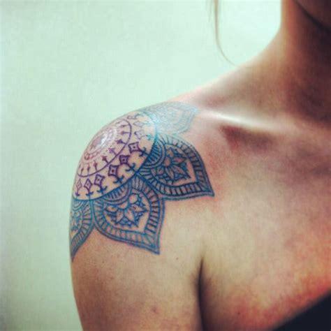 blue mandala tattoo  shoulder