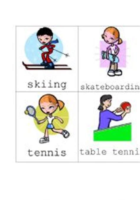 Sports Flashcards Worksheets