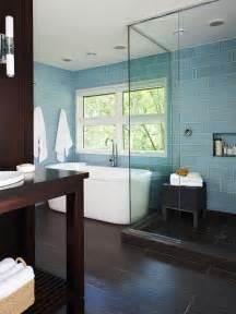 glass tiles bathroom ideas blue glass subway tiles contemporary bathroom bhg