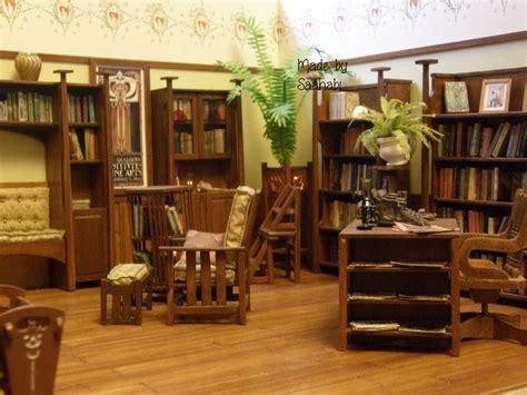 art nouveau dollhouse glasgow style library