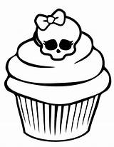 Cupcake Coloring Skull Cupcakes Awesome Pages Netart Drawings Adult Colouring Cakes Icolor Tattoo Minnie Mouse Sprinkles Line sketch template