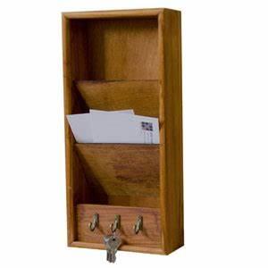 office accesories home basics pine letter rack with hooks With home basics pine letter rack with key hooks
