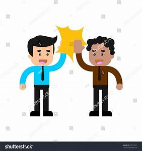 Business Man Doing High Five Colleagues Stock Vector ...