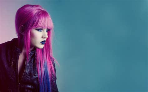 wallpaper women model anime blue hair blue eyes red