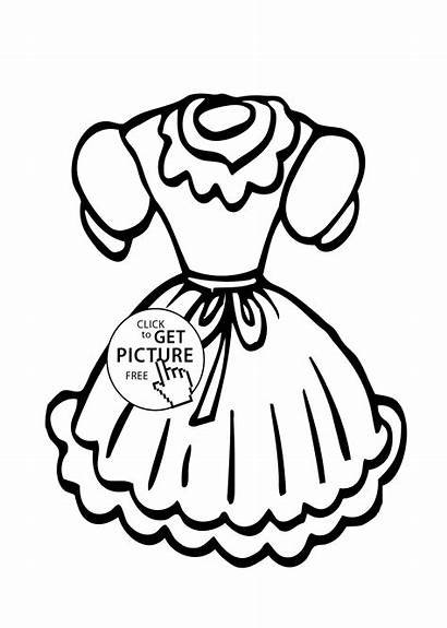 Coloring Printable Doll Pages Dresses Barbie 4kids